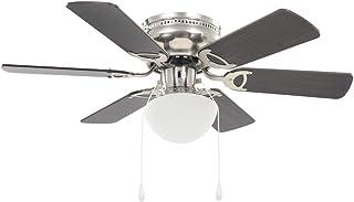 vidaXL Ventilador Techo Lámpara 82 cm Marrón Oscuro Abanico Foco Iluminación