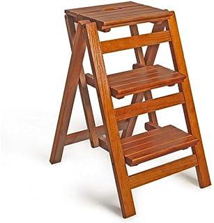 Asiento de escalera de taburete portátil versátil de 4 niveles, taburete plegable de tres escalones, material de madera de pino macizo de primera calidad, extraordinariamente resistente y duradero: Amazon.es: Hogar