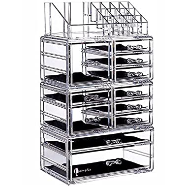 Cq acrylic Large 9 Tier Clear Acrylic Cosmetic Makeup Storage Cube Organizer with 11 Drawers. It Consists of 4 Separate Organizers, Each of Which Can be Used Individually -9.5 x6.5 x14.5