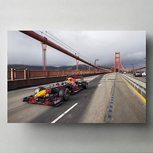 VVSUN HD Formula One F1 Racing Sport Car Lienzo Pinturas Arte de Pared Moderno Cuadros e Impresiones para la Sala de Estar Decoración del hogar 60X90cm 24x36 Pulgadas Sin Marco