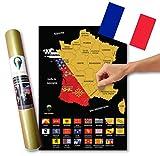 Global Walkabout FRANÇAISE - A3 Carte à gratter des drapeaux et des faits de France avec des drapeaux en arrière-plan - Affiche de voyage de luxe - Pays et faits - Cadeau de voyage - Carte A3 (Noir)