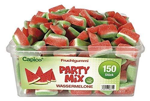 CAPICO Fruchtgummi Wassermelone Party Mix, Wiederverschliessbare Dose, 150 Stück
