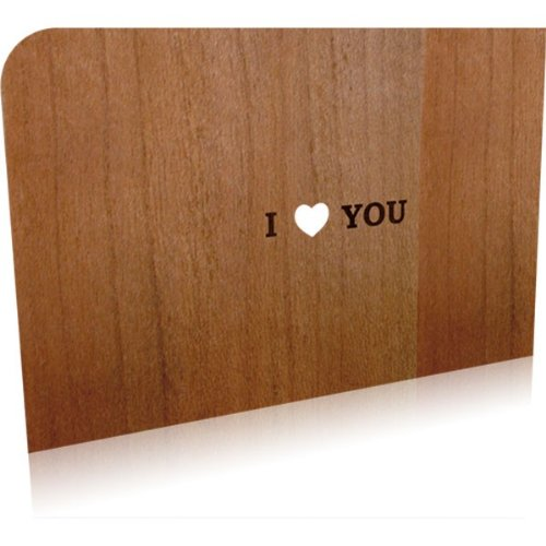 Holz-Grußkarte I Love You