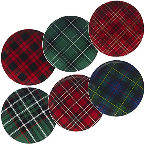 Certified International Christmas Plaid 8.25' Salad/Dessert Plate, Set of 6 Assorted Designs, One Size, Mulicolored