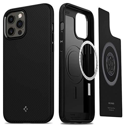 Spigen MagSafe ケース iPhone12Pro Max ケース 6.7インチ マグネット搭載 TPU マグセーフ ワイヤレス充電対応 米軍MIL規格取得 耐衝撃 すり傷防止 アイホン 12プロマックスケース カバー シュピゲン マッグ・アーマー (マット・ブラック)