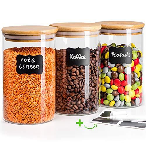 Greeano® Vorratsgläser mit Deckel 3 teilig | Füllmenge 3.0L | Spülmaschinenfest | Mottensicher | Borosilikatglas