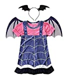 Costume Vampira - Costumino - Vampirina - Bambina - Travestimento - Carnevale - Halloween - Cosplay - Accessori - Cerchietto - Ali - Taglia 140 - 8 - 9 anni - idea regalo originale natale compleanno