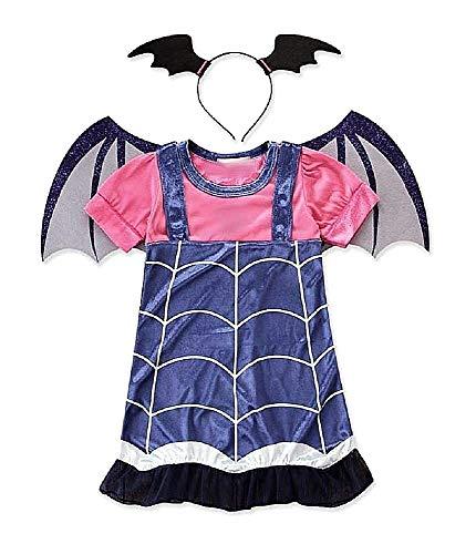 Costume Vampira - Costumino - Vampirina - Bambina - Travestimento - Carnevale - Halloween - Cosplay - Accessori - Cerchietto - Ali - Taglia 130-7 - 8 anni - Idea regalo per natale e compleanno