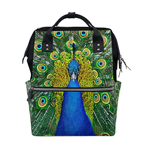 Hermoso pájaro pluma de pavo real multifunción bolsas de pañales mochila bolsa de viaje