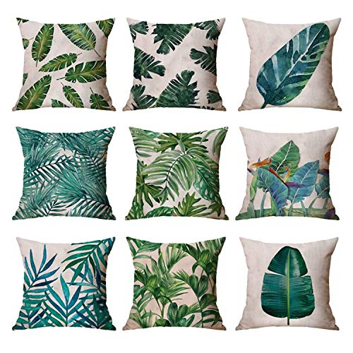 ZMYY Juego de 9 fundas de cojín con diseño de plantas tropicales verdes para coche, hogar, oficina, sofá, cama, 9 unidades