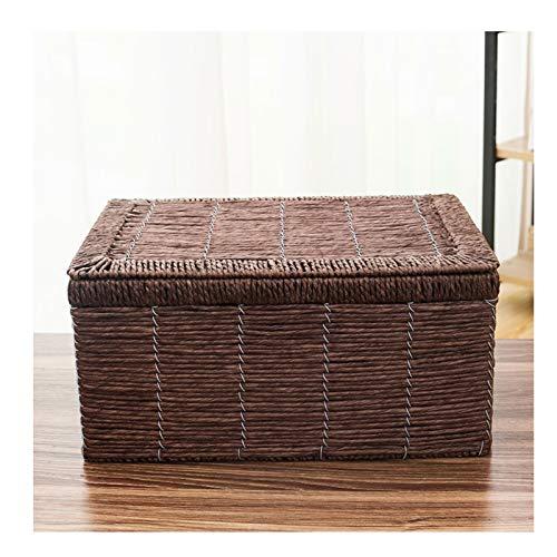 gaowei Cestas de almacenamiento tejidas, de cuerda de papel, con tapa, organizador de papelera, divisor para armarios, cajones, estanterías, aparadores (color: marrón, tamaño: M)