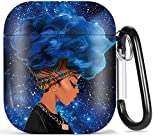 Black Girl Airpod Case - Olytop African American Protective Hard Case Cover Portable & Shockproof Women Girls with Keychain for Apple Airpods 2/1 Charging Case-Blue/Head Wrap