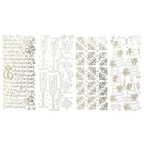 Stickerbogen in Spiegelfolie | Hochzeitsmotive und Schriftzüge | Aufkleber | Bogengröße: 23 x 10 cm | 4 Stück