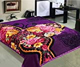 Marina Decoration 11 LB Oversized Heavy Woven Fluffy Plush Soft Warm Korean Style Mink 2 Ply Rich Printed Flannel Fleece Throw Raschel Blanket Embossed Solid, 86 x 94 Inch Butterfly Floral Pattern