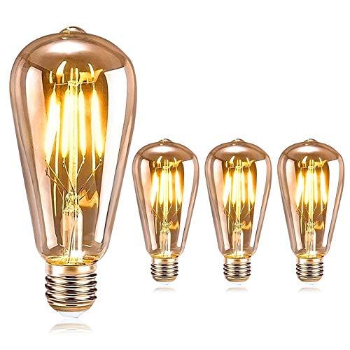 DASIAUTOEM Edison Vintage Glühbirne, E27 Retro Glühbirne LED 4W Vintage Beleuchtung ST64 Vintage Glühbirne LED Antike Nostalgie Dekorative Glühbirne Ideal für Haus Restaurant Café Bar Musikzimmer