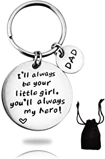 FONYVE I'll Always Be Your Little Girl.You Will Always Be My Hero Keychain Gift for Dad from Daughter Father's Day Key Chain