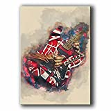 Eddie Van Halen Guitar Poster Canvas Decoration Wall Art for Living Room Oil Paintings for Office Decor Ready to Hang for Home 24x36inch(60x90cm) Framed