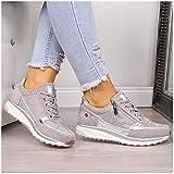 XXXZZL Moda Tacón de Cuña Bambas Mujer Plana Cómoda Zapatos Vulcanizados 2020 Ata para Arriba Cremallera Zapatillas para Mujer,Gris,42