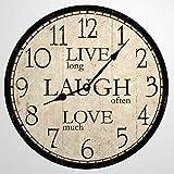 Live Laugh Love Clock - Reloj de pared de madera de 30,5 cm, funciona con pilas, decoración de pared para el hogar