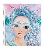 Depesche 11240 Malbuch mit Stickern, Create your Fantasy Face, ca. 24 x 21,8 x 1,8 cm groß, 40 Seiten, 3 Schablonen und 1 Bogen mit Stickern