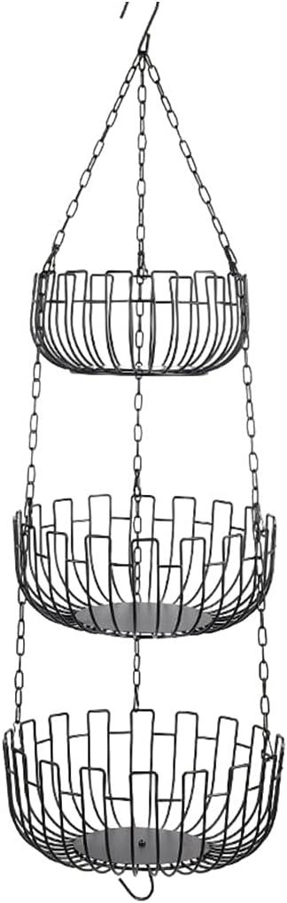 unisex MagiDeal Iron Wire 3 Tier Round discount Basket Fruit Kitc Holder Hanging