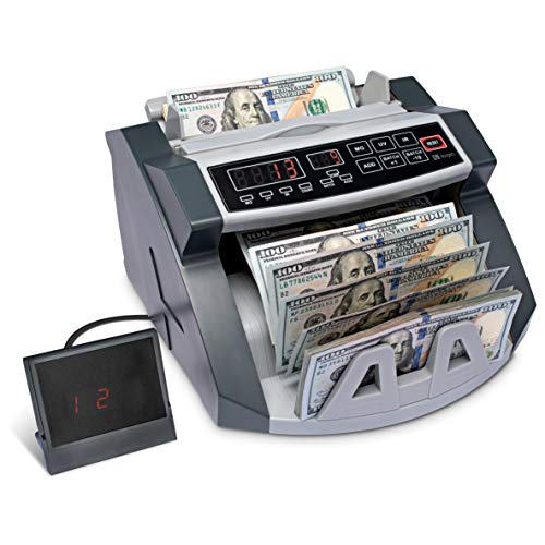 Logia Money Counter, Automatic Counting, Custom Batching, Adjustable Tray, LED Display, Counterfeit Detection, Self-Check, Customer-Facing Display and Handle