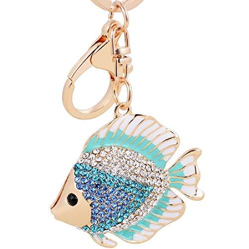 Aibearty Crystal Rhinestone Fish Keychain Pretty Cute Marine Animal Goldfish Keyring Women Bag Hanging Pendant Charm