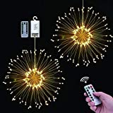 Luces LED de Fuegos Artificiales, seenlast 2 Pack 120 LED Luces Navidad Decorativo Luces de Cadena Alambre con Control Remoto para Jardín Entrada Fiestas Boda Casas (Blanco Cálido)