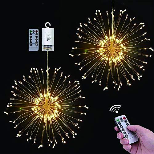 LED Lichterketten Feuerwerk Licht, seenlast Weihnachts Lichterketten Hängeleuchte Dekorations 120 LED 8 Modi Wasserdichte Kupferdraht Lichter für Schlafzimmer Haus Garten Hochzeit Weihnachtsfeier