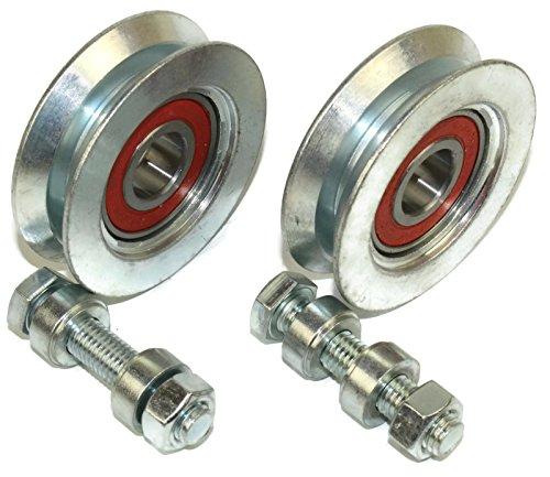 V50-8 - Juego de 2 ruedas para puerta corredera con ranura en V de acero fabricadas en la UE (50 mm de diámetro – eje de 8 mm)