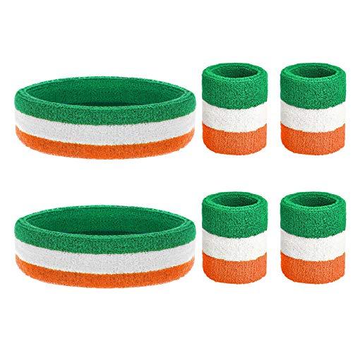 ZERHOK 6Stk Gestreifte Schweißband Set Stirnband St. Patrick\'s Day Schweißbänder Irisches Handgelenk Absorbierendes Armband für 80er Jahre Karneval Irland Tennis Basketball Sport Accessoires