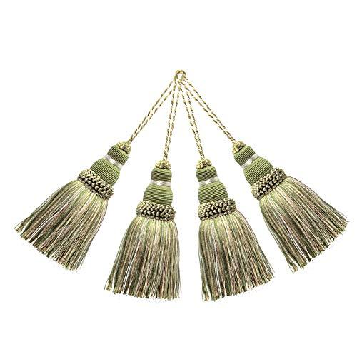 BEL AVENIR Elegante Polyester-Quasten, bunte Bastel-Quasten für Schlüsselanhänger, Riemen, DIY-Zubehör (gemischtes Grün), 4 Stück