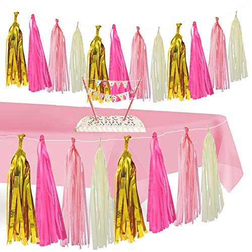 Home Décoration & Pink Tablecloth,Tissue Tassel Garland Table Cover Skirt for 1st Party Girl Decor, Decorate for Princess/ Unicorn/ Nursery/ Festive Theme, Bonus Mini Happy Birthday Banner Cake Topper