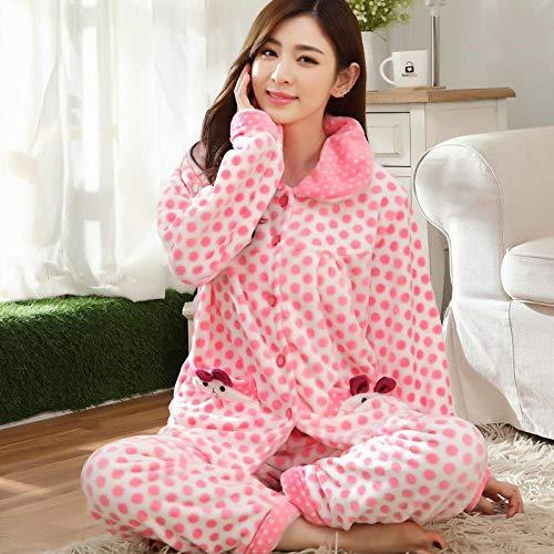 Damen Pyjama Set,Damen Warme Weiche Elegante Nachthemden Rosa Punkt Cartoon Kaninchen Flanell Niedlich Gemütliche Nachtwäsche Weihnachten Lässig Zu Hause Tragen, L.