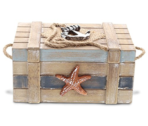 CoTa Global Nautical Jewelry Box 3.7 Inch Beach Theme Decor Ocean Party Decorations Rustic Nautical Decor Trinket Storage with Hinged Lid