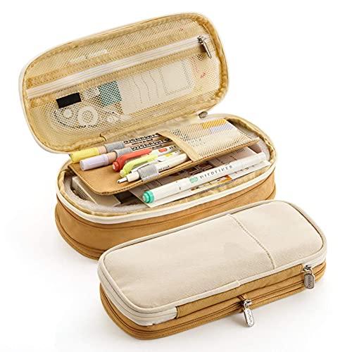 Large Capacity Pencil Pouch Expandable Cotton Linen Case School Student Khaki Travel Toiletries Bag
