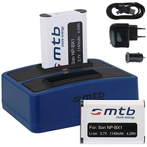 2X Baterías + Cargador Doble (USB/Coche/Corriente) para Sony NP-BX1 / Sony Action...