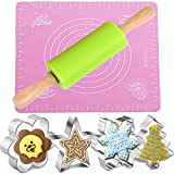 """Kids Rolling Pin Set, Nonstick Silicone Rolling Pin 10""""Length, Silicone Pastry Mat 11.4""""Length x 10.2""""Width, 4pcs Stainless Steel Cookie Cutters"""