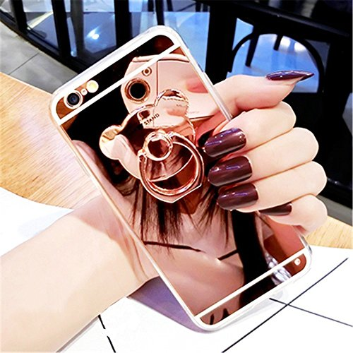 Hpory Coque Compatible avec iPhone 7/iPhone 8 Miroir Cover Glitter, Ultra Thin Soft TPU Gel Silicone Cristal Clair Bling Brillant Miroir Placage Ours Stand Holder Etui Pailletee Back Case (Or Rose)