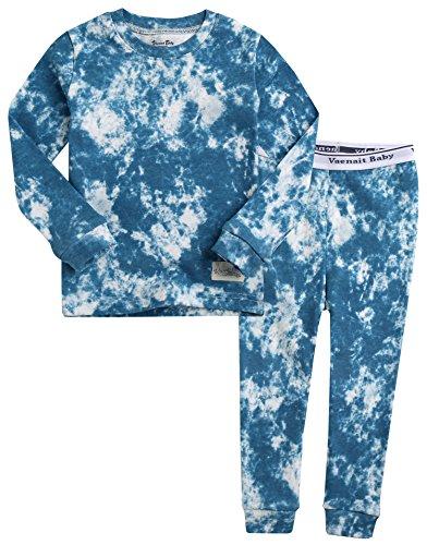 VAENAIT BABY 12M-12Y - Pijama de 2 piezas para niños y niñas, 100% algodón marmoleado, A05-azul, 6-7 Años