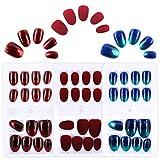 FLOFIA 72pz Unghie Finte Colorate per Ragazze Donne Adesive Unghie Artificiali Adesive Copertura Completa con Biadesivo per Manicure Decorazione Nail Art Fai da Te (3 Scatole)