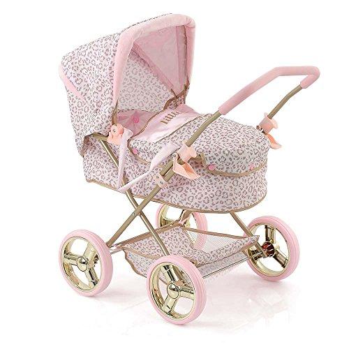Hauck D86486 Gini Little Diva Puppenwagen mit Abnehmbarer Softtasche und Spielzeugkorb im Leoparden-Look, klappbarer Puppenkinderwagen, Rosa/Gold