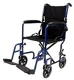 Karman Healthcare LT-2017-BD Folding Aluminum Transport Chair, Burgundy, 17' Seat Width
