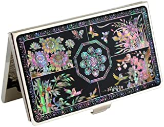 Mother of Pearl Metal Four Noble Beings Design Black Business Credit Name Id Card Holder Case Stainless Steel Engraved Slim Purse Pocket Cash Money Wallet