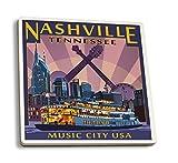Lantern Press Nashville, Tennesseee - Skyline at Night (Set of 4 Ceramic Coasters - Cork-Backed, Absorbent)