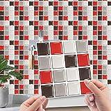 Hiseng Rectángulo Adhesivos Decorativos Azulejos Pegatinas para Baldosas del Baño, Mármol 3D Mosaico Estilo Cocina Resistente al Agua Pegatina de Pared, 10x10cm (Rojo,30Piezas)