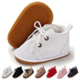 Timatego Baby Booties Newborn Boy Girl Shoes Cozy Fur Lining Non-Slip Lace Up Infant Snow Boots Toddler Crib Prewalker Winter Shoes, 03 White, Baby Booties 0-6 Months Infant
