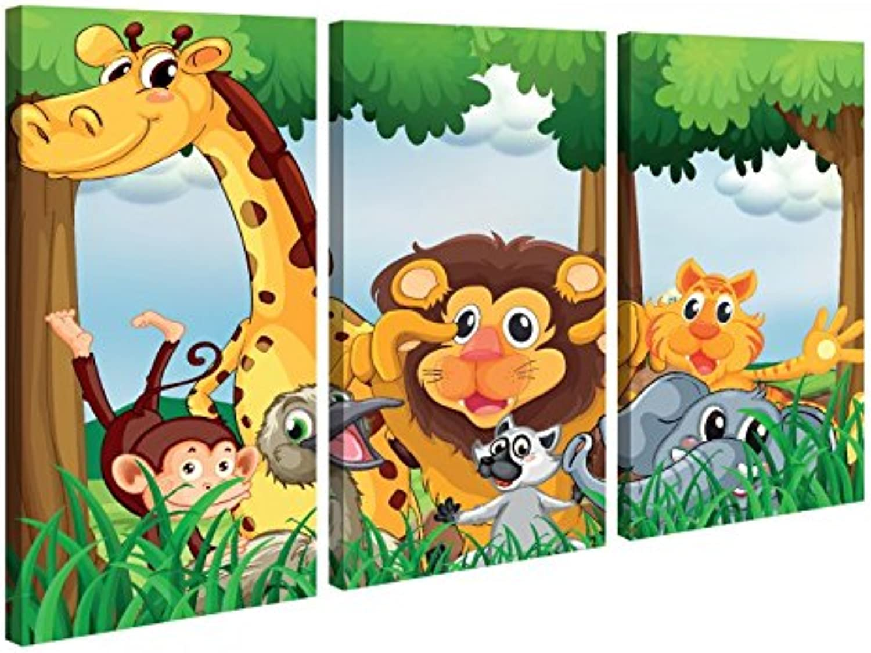 Leinwandbild 3 Tlg Tiere Kinderzimmer Löwe Giraffe Affe Leinwand Leinwand Leinwand Bild Bilder Holz fertig gerahmt 9P1021, 3 tlg BxH 120x80cm (3Stk 40x 80cm) B01MTTVTYB 3165f5