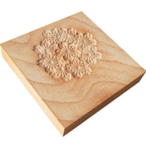 HIGHAWK和菓子 製菓 木製板 練りきり型 和菓子用器具 製菓用品 手作り 生菓子 菓子型 木型 木彫板 練り切り 道具 和菓子道具(桜L・10*10cm)