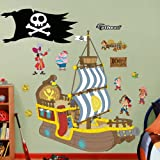 FATHEAD Jake and The Neverland Bucky The Pirate Ship-Huge Officially Licensed Disney Removable Wall Decal, 59' W x 69' H